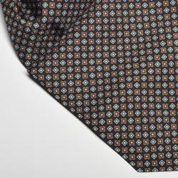 Elegancki granatowy fular jedwabny hemley w niebieski i brązowy wzór
