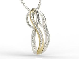 Wisiorek z białego i żółtego złota z diamentami lpw-69bz