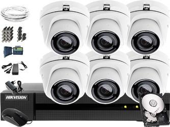 Kompletny monitoring kościoła hikvision hiwatch turbo hd, ahd, cvi hwd-6108mh-g2, 6 x hwt-t140-m, 1tb, akcesoria