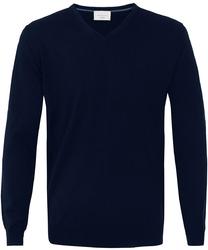 Sweter  pulower v-neck z wełny z merynosów granatowy xxxl