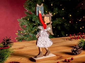 Figurka  ozdoba  dekoracja świąteczna drewniana święta boże narodzenie altom design aniołek z prezentem 10 x 4 x 23 cm