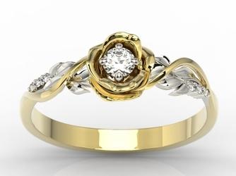 Pierścionek złoty w kształcie róży z białym szafirem i brylantami lp-7715zb - żółte i białe  szafir white