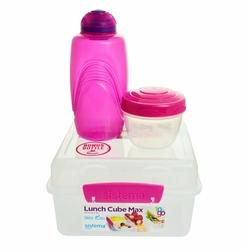 Lunchbox Kostka Max 2l i Butelka 385 ml, różowy, Sistema