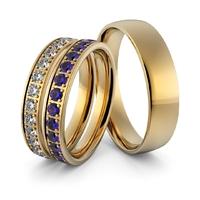 Obrączki ślubne z brylantami i szafirami - zestaw obrączek - au-957