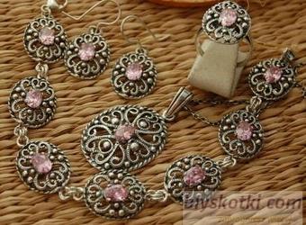 Srebrny komplet z różowym kryształem marge