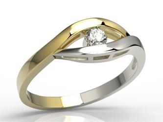 Pierścionek zaręczynowy z żółtego i białego złota z diamentem lp-9912zb