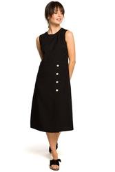 Czarna trapezowa sukienka bez rękawów z guzikami