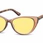 Okulary przeciwsłoneczne kocie oczy damskie brązowe ms43c