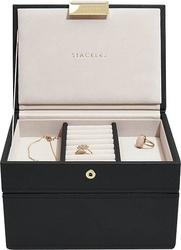 Szkatułka na biżuterię stackers podwójna mini czarna velvet