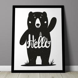Hello miś - plakat dla dzieci , wymiary - 40cm x 50cm, kolor ramki - biały