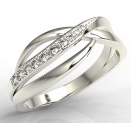 Pierścionek z białego złota z diamentami lp-6708b