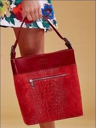 Włoska torebka skórzana czerwona rovicky twr-47 - czerwony