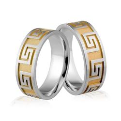 Obrączki srebrne pozłacane z greckim wzorem - wzór ag-333