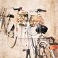 Fototapeta grafika w stylu vintage, rowery