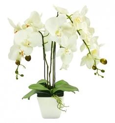 Sztuczny storczyk kwiatek kwiat orchidea biała