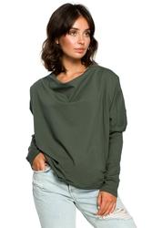 Luźna bluza damska z dekoltem z tyłu zielona b094