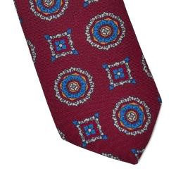 Ciemnoczerwony krawat wełniany van thorn w duży wzór
