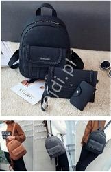 Zestaw czarny plecak z ozdobnymi warkoczami + kopertówka + saszetka
