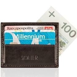 Skórzany portfel wizytownik męski solier sa13 ciemny brąz - brązowy