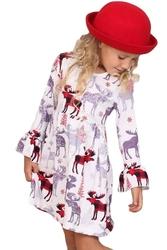 Sukienka dla dziewczynki z reniferami w czerwoną kratę na świąteczny okres