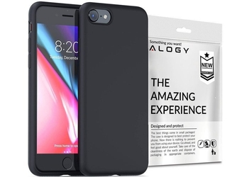 Etui silikonowe alogy slim case do apple iphone 7 8  se 2020 czarne + szkło