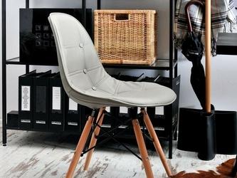 Krzesło szare tunis ll wood ekoskóra