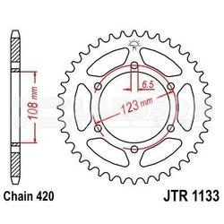 Zębatka tylna stalowa jt 1133-52, 52z, rozmiar 420 2302121 motorhispania rx 50