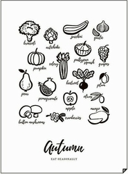Plakat autumn - eat seasonally 21 x 30 cm
