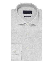 Elegancka siwa koszula męska z dzianiny slim fit 44