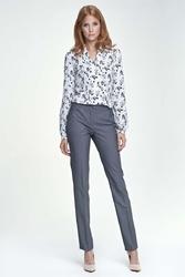 Szare spodnie eleganckie z kantem