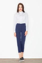 Granatowe spodnie cygaretki z podwyższonym stanem