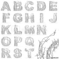 Obraz na płótnie canvas trzyczęściowy tryptyk czcionki z drutu kolczastego