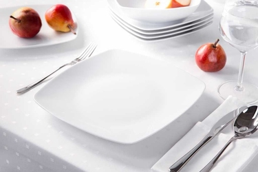 Talerz płytki  obiadowy porcelana mariapaula moderna biała 25 cm kwadratowy