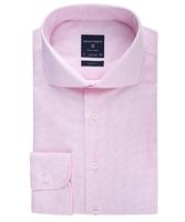 Elegancka koszula męska taliowana slim fit w różową krateczkę 43