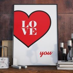 Love you - plakat designerski , wymiary - 30cm x 40cm, ramka - czarna