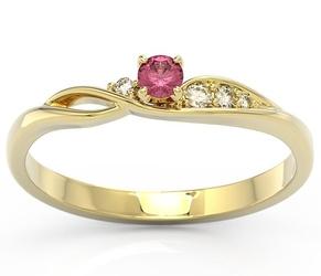 Pierścionek z żółtego złota z rubinem i brylantami bp-7810z - żółte  rubin