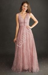 Pudrowo różowa sukienka wieczorowa w brokatowy kwiatowy wzór 2214