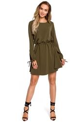 Khaki rozkloszowana sukienka z rozcięciem i wiązaniem na rękawach