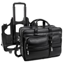 Skórzana torba podróżna na laptopa 17 z odpinanym wózkiem mcklein clinton 88445