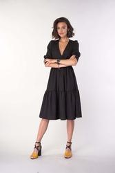 Kopertowa sukienka z falbanką czarna