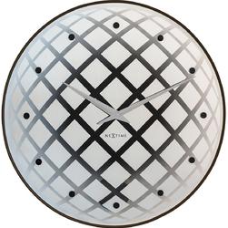 Okrągły zegar ścienny z wahadłem Pendula Nextime srebrny 8185 ZI