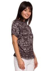 Damska bluzka z krótkimi rękawami i nadrukiem szara b145
