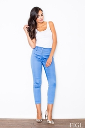 Niebieskie dopasowane spodnie cygaretki