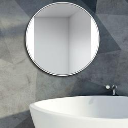 Okrągłe lustro sides z podświetleniem z białą ramą