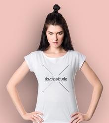 Shutterstock brief t-shirt damski biały s