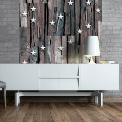 Fototapeta - gwiazdki na drewnie
