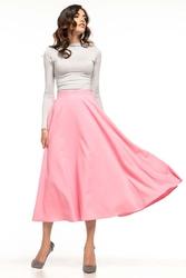 Różowa mocno rozkloszowana midi spódnica