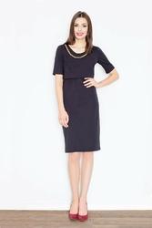 Czarna dwuwarstwowa sukienka midi z łańcuszkiem
