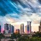 Warszawa wieżowce panorama miasta - plakat premium wymiar do wyboru: 84,1x59,4 cm