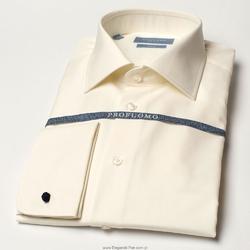Śmietankowa  jasna ecru taliowana koszula slim fit z półwłoskim kołnierzykiem, mankiety na spinki 40